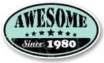 Distressed Aged Awesome Since 1980 Oval Design External Vinyl Car Sticker 70x120mm